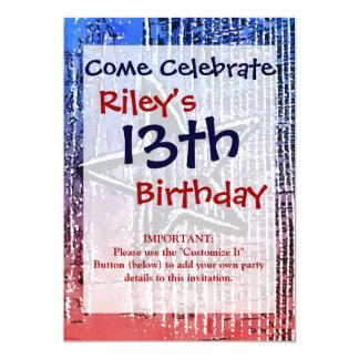 "Red and Blue Cool Rustic Star Pop Art Print 5"" X 7"" Invitation Card"