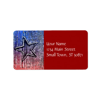 Red and Blue Cool Rustic Star Pop Art Print Custom Address Label