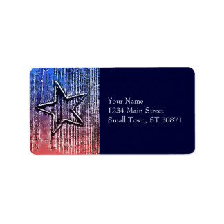 Red and Blue Cool Rustic Star Pop Art Print Label