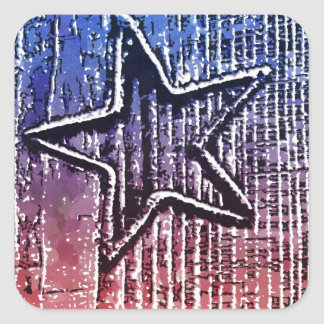 Red and Blue Cool Rustic Star Pop Art Print Square Sticker
