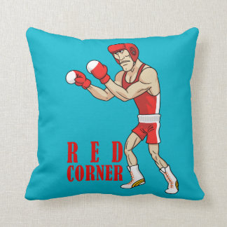 red and blue corner boxers throw pillow