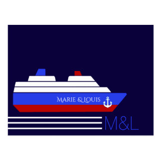 red and blue couples travel ship cruise postcard