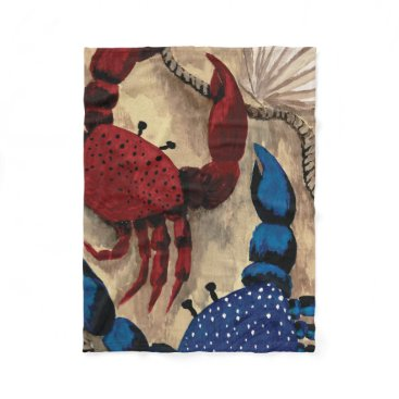 Beach Themed Red and Blue Crab Fleece Blanket