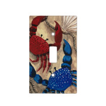 Red and Blue Crab Light Switch Cover