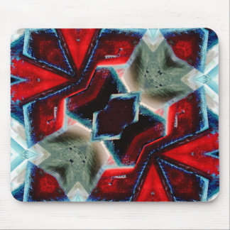 Red and Blue Crystal Geometric Mouse Pad
