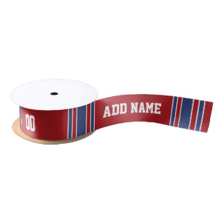 Red and Blue Custom Sports Jersey Satin Ribbon