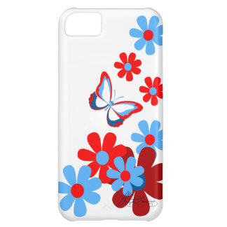 Red And Blue Daisies With Butterfly iPhone 5C Case