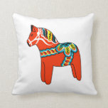 Red and Blue Dala Horse Pillow