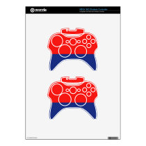 Red and Blue Demi-Stripe XBox 360 Controller Skin
