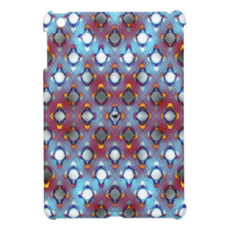 Red and Blue Diagonal Pattern with Cat iPad Mini Cover