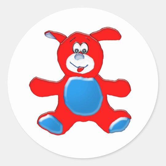 Red and Blue Dog Cartoon Sticker