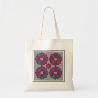 Red and blue examined tote bag