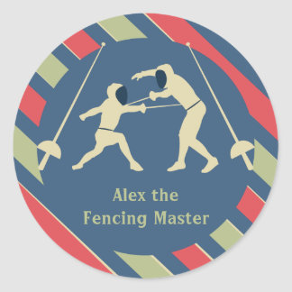 Red and Blue Fencing Stickers Party Favor
