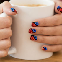 Red and blue flames on black manicure set minx nail wraps