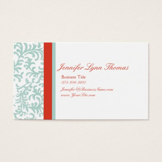 Red and Blue Floral Damask Seating Card