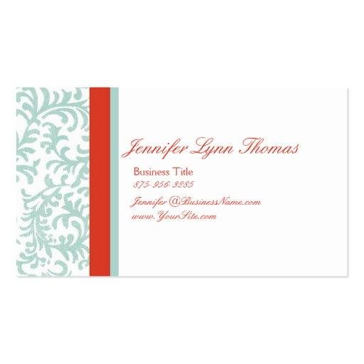 Red and Blue Floral Damask Seating Card Double-Sided Standard Business Cards (Pack Of 100)