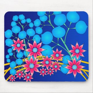 Red and blue flowers mousepad mousepad