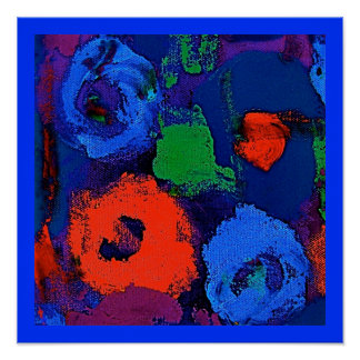 RED AND BLUE FLOWERS Poster