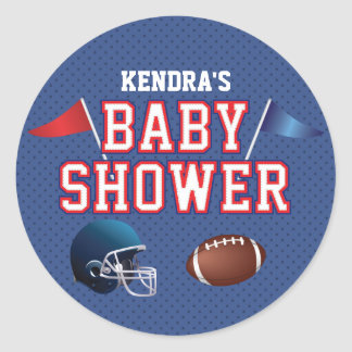 Red and Blue Football Baby Shower Classic Round Sticker
