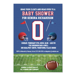 """Red and Blue Football Baby Shower 5"""" X 7"""" Invitation Card"""