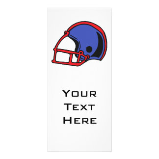 red and blue football helmet graphic rack card