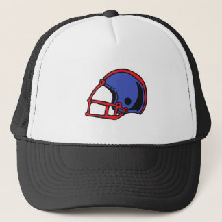 red and blue football helmet graphic trucker hat