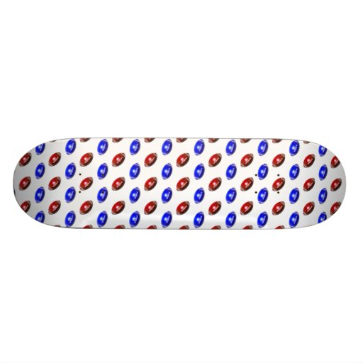 Red and Blue Football Pattern Skateboard