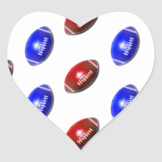 Red and Blue Footballs Heart Sticker