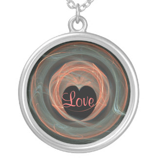 REd and Blue Fract Art Heart Necklace