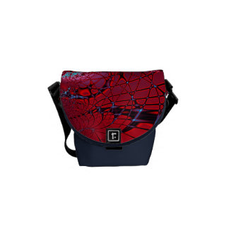 Red and Blue Fractal Courier Bag