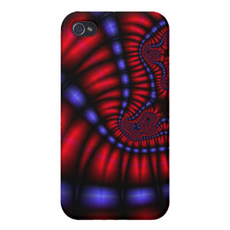 red and blue fractal i cases for iPhone 4