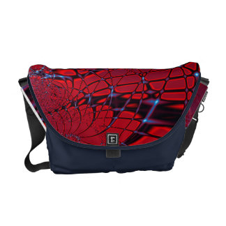 Red and Blue Fractal Messenger Bag