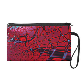 Red and Blue Fractal Wristlet Purse