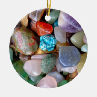 Red and Blue Freshwater Pebbles Ceramic Ornament