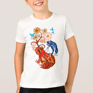 Red and Blue Frog N Flowers T-Shirt