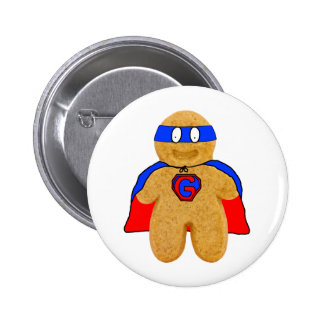 red and blue gingerbread man super hero badge pinback button