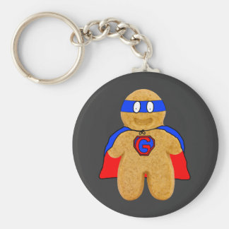 red and blue gingerbread man super hero key-chain keychain