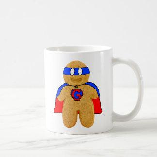 red and blue gingerbread man super hero mug