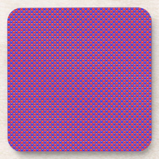 Red and Blue Glass Square Tiles Drink Coaster