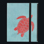 """Red and Blue Green Sea Turtle iPad Case<br><div class=""""desc"""">A sea life themed design with bold red and blue contrasts. Featuring one of the most majestic creatures of the ocean- the Green Sea Turtle. Rich color and bold shapes make for an eye catching gift,  perfect for coastal homes and beach houses</div>"""