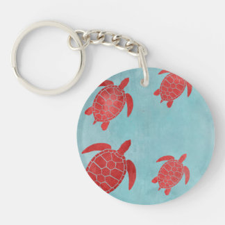 Red and Blue Green Sea Turtle Keychain