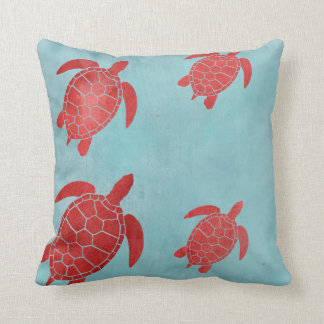 Red and Blue Green Sea Turtle Throw Pillow