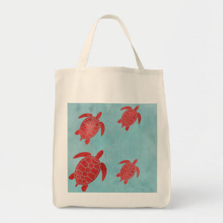 Red and Blue Green Sea Turtle Tote Bag