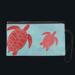 """Red and Blue Green Sea Turtle Wristlet<br><div class=""""desc"""">A sea life themed design with bold red and blue contrasts. Featuring one of the most majestic creatures of the ocean- the Green Sea Turtle. Rich color and bold shapes make for an eye catching gift,  perfect for coastal homes and beach houses</div>"""
