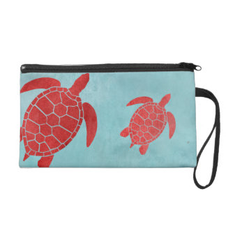Red and Blue Green Sea Turtle Wristlet