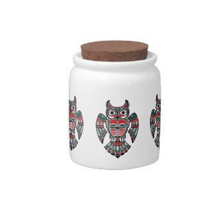 Red and Blue Haida Spirit Owl Candy Jars