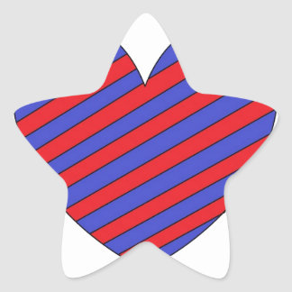 Red and blue heart star sticker