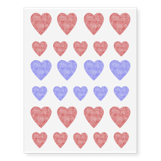 Red and Blue Heart Tattoos