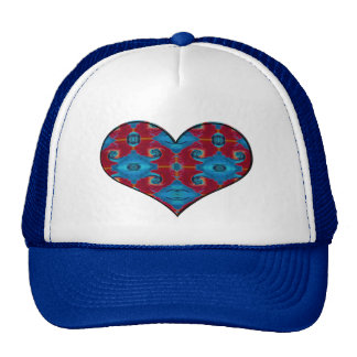 red and blue heart trucker hat