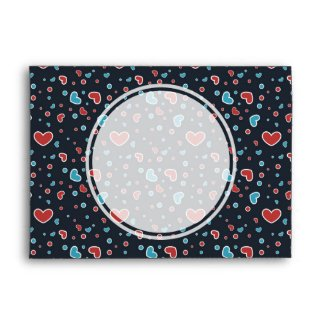 Red and Blue Hearts Pattern Envelope